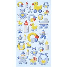 Embellishments / Verzierungen 3D-klistermærker, 28 babymotiver. At dekorere kort, gaver, albums, scrapbog med mere!
