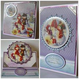 BASTELSETS / CRAFT KITS Kerst, KartenSET, knutselpakket Hunkydory, luxe kaarten + 2 zilveren kaarten + zelfklevende pads + stickers