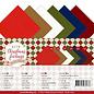 Karten und Scrapbooking Papier, Papier blöcke 24x linnen doos, 13,5 x 27 cm, 250 g / m², in 6 warme kerstkleuren