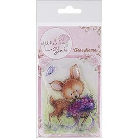 Wild Rose Studio`s Wild Rose Studio's, A5 stamp, reindeer with flowers,