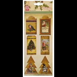 Embellishments / Verzierungen 6 sponplater, etiketter, med julemotiver