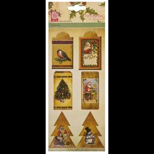 Embellishments / Verzierungen 6 spaanplaten, etiketten, met kerstmotieven
