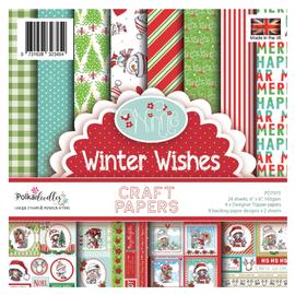 Karten und Scrapbooking Papier, Papier blöcke Bloque de papel, Polkadoodles Winnie Winter Wishes 15x15cm, paquete de papel de 6x6 pulgadas