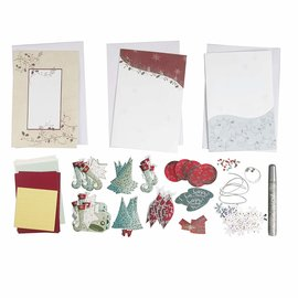 BASTELSETS / CRAFT KITS Jul, kort SET, til 15 julekort!