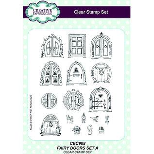 CREATIVE EXPRESSIONS und COUTURE CREATIONS A5-stempel, Fairy Doors, engeldeuren die overeenkomen met de stempel Kh448708 UMS882