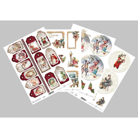 Bilder, 3D Bilder und ausgestanzte Teile usw... Papirsett, jul, 4x A4-ark, 250 gsm