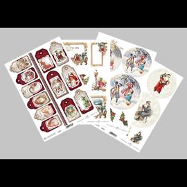 Bilder, 3D Bilder und ausgestanzte Teile usw... SET de papel, Navidad, 4x hojas A4, 250 g / m2