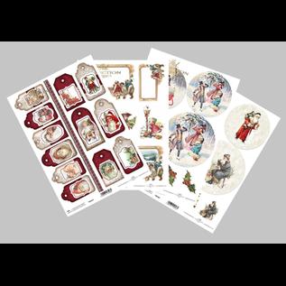 Bilder, 3D Bilder und ausgestanzte Teile usw... Papir SET, jul, 4x A4 ark, 250 gsm