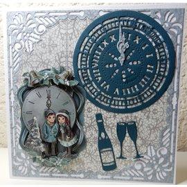 AMY DESIGN PUNCHING MODELLO + Timbro: clock frame 13 x 13 cm