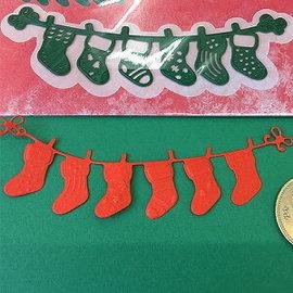 Ponsen en embossing sjablonen: lijn met Weihnachtssokken