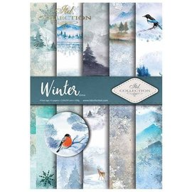 "Karten und Scrapbooking Papier, Papier blöcke Set of cards and scrapbooking papers, ""winter"" 5 x sheets 200 g / m2, A4 (double-sided) + 1 sheet 200 g / m2 A4"