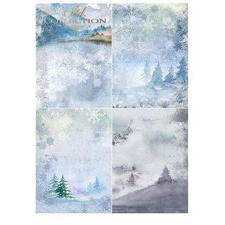 "Karten und Scrapbooking Papier, Papier blöcke Sæt kort og scrapbogpapir, ""vinter"" 5 x ark 200 g / m2, A4 (dobbeltsidet) + 1 ark 200 g / m2 A4"