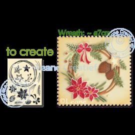 Crafter's Companion Stansende dies + stempel: design efterår og vinter krans