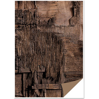 Karten und Scrapbooking Papier, Papier blöcke Kortplade med træudseende, træcollage, mørkebrun