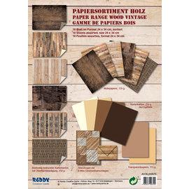Karten und Scrapbooking Papier, Papier blöcke Carton, assortiment vintage, motif en bois antique, tons de marron