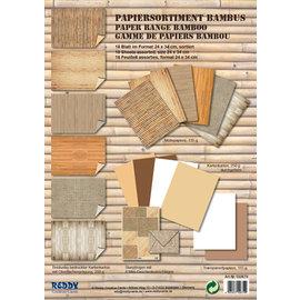 Karten und Scrapbooking Papier, Papier blöcke Assortiment de bristol Vintage, bambou, jute, beige / marron