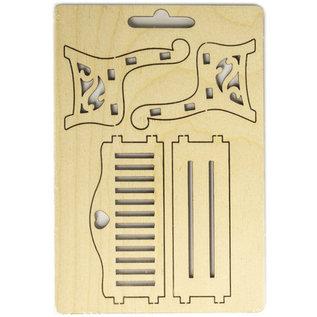 Holz, MDF, Pappe, Objekten zum Dekorieren Miniature, panca in legno, 8,7 x 4,3 x 6 cm