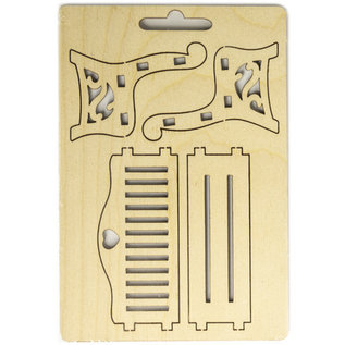 Holz, MDF, Pappe, Objekten zum Dekorieren Miniatures, wooden bench, 8,7 x 4,3 x 6cm