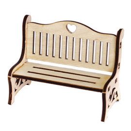 Holz, MDF, Pappe, Objekten zum Dekorieren Miniaturas, banco de madera, 8,7 x 4,3 x 6cm.