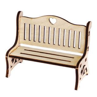 Holz, MDF, Pappe, Objekten zum Dekorieren Miniatyrer, træbænk, 8,7 x 4,3 x 6 cm