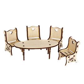 Holz, MDF, Pappe, Objekten zum Dekorieren Miniatures, table + chair, made of wood, 5.7 x 13 x 4.3 cm