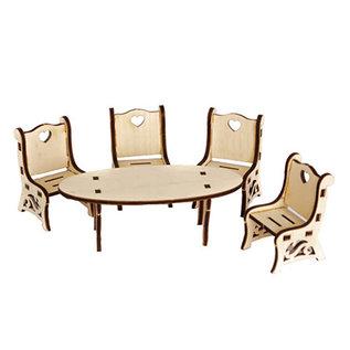 Holz, MDF, Pappe, Objekten zum Dekorieren Miniatyrer, bord + stol, lavet af træ, 5,7 x 13 x 4,3 cm