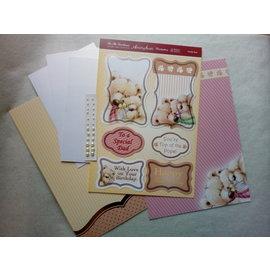 """Hunkydory Luxus Sets Deluxe Bastel Set, Karten mit Bärchen + 3 Doppelkarten in Perlmutt creme Farbe + Perlen, """"Daddy Bear"""" von Hunkydory. Limited!"""