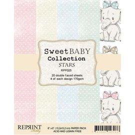 DCWV und Sugar Plum Blocco di carta, dolce bambino, 15 x 15 cm, 20 foglie a doppia faccia, 170 gsm.