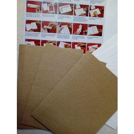KARTEN und Zubehör / Cards Ensemble de matériel pour 3 cartes de livre-cadeau avec choix en blanc, brun clair ou foncé!