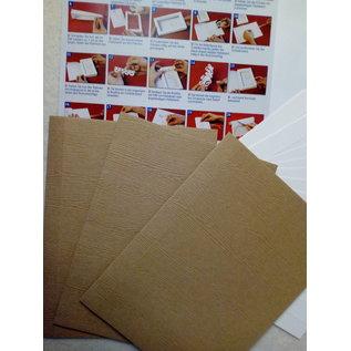 KARTEN und Zubehör / Cards Materiaalset voor 3 geschenkboekkaarten met keuze in wit, licht of donkerbruin!
