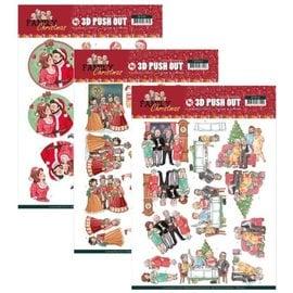 Bilder, 3D Bilder und ausgestanzte Teile usw... 3x 3D Pushout: creaciones de Yvonne, Navidad familiar, Navidad amorosa