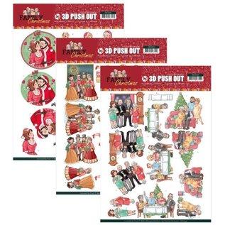 Bilder, 3D Bilder und ausgestanzte Teile usw... Bastel SET 3x 3D Pushout: Yvonne Creations, Family Christmas, Loving Christmas