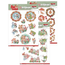 Bilder, 3D Bilder und ausgestanzte Teile usw... Craft Set met 3x 3D Pushout: Yvonne Creations, Sweet Christmas Pushout: Yvonne Creations, Sweet Christmas