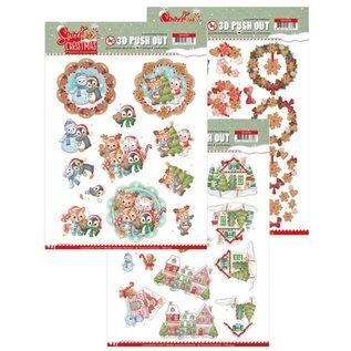 Bilder, 3D Bilder und ausgestanzte Teile usw... Craft Set met 3x 3D Pushout: Yvonne Creations, Sweet Christmas Pushout: Yvonne Creations, Sweet Christmas