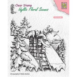 Nellie Snellen Timbro, formato 110x110mm, senza tempo, Babbo Natale al lavoro