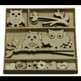 Objekten zum Dekorieren / objects for decorating Wood ornament box, owl 30 parts