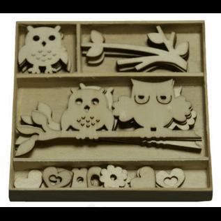 Objekten zum Dekorieren / objects for decorating Holzornament Box, Eule 30 Teile
