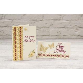 Die'sire Ponsen sjabloon, elegante rand voor decoratieve linten
