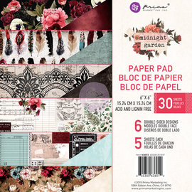 "Prima Marketing und Petaloo Prima Marketing, Paper Block, 15,24 x 15,24 cm ""Midnight garden"""