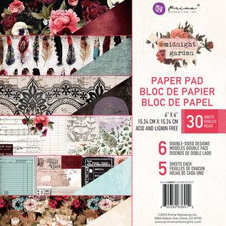 "Prima Marketing und Petaloo Prima Marketing, Paper Block, 15,24 x 15,24 cm ""Midnight garden"""