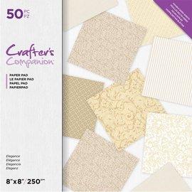 Crafter's Companion Elegante Vintage, bloque de papel, impreso a doble cara, ¡50 hojas! 20 x 20 cm