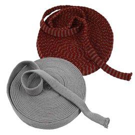 Embellishments / Verzierungen Strikket rør, valg: i grått, rødt eller rødgrått stripete, W 15 mm, julerødt, måler varer, sterk, tett kvalitet For en hette, ben osv. For eksempel dukke, lepr, osv.