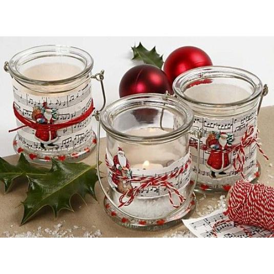 dekorativen Kerzenhalter mit Kraftpapier mit Musiknoten