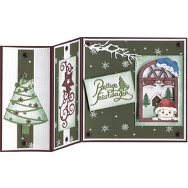 Precious Marieke Stempelset: venster met winterdecoraties