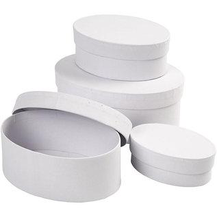Dekoration Schachtel Gestalten / Boxe ... 4 boxes, oval, L 10 + 12 + 14 + 16 cm, H 4 + 5 + 6 + 7 cm, white