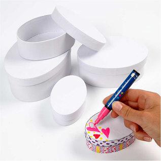 Dekoration Schachtel Gestalten / Boxe ... 4 dozen, ovaal, L 10 + 12 + 14 + 16 cm, H 4 + 5 + 6 + 7 cm, wit
