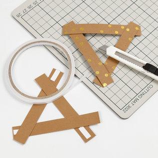 Karten und Scrapbooking Papier, Papier blöcke Lederpapierstreifen / Flechtstreifen, B 15 mm, Stärke: 0,55 mm, Hellbraun, Gold-Druck, 9,5m