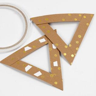 Karten und Scrapbooking Papier, Papier blöcke Bandes de papier / bandes tressées en cuir, L 15 mm, épaisseur: 0,55 mm, brun clair, imprimé or, 9,5 m
