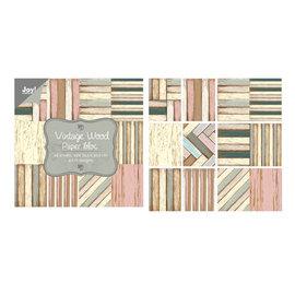 Designer Papier Scrapbooking: 30,5 x 30,5 cm Papier Papieren blok, vintage hout, dik! 30,5 x 30,5 cm, 48 vellen, 4 x 12 ontwerpen!