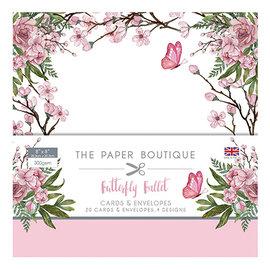 Karten und Scrapbooking Papier, Papier blöcke Nouveau! Un grand ENSEMBLE, ballet de papillons, 20 cartes de créateurs + enveloppes, 20,3 x 20,3 cm, 4 motifs chacun, 300 g / m2,